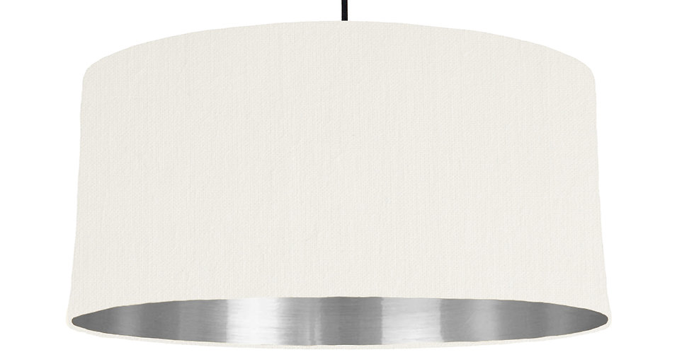 White & Silver Mirrored Lampshade - 60cm Wide