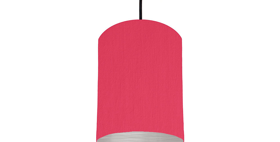 Cerise & Brushed Silver Lampshade - 15cm Wide