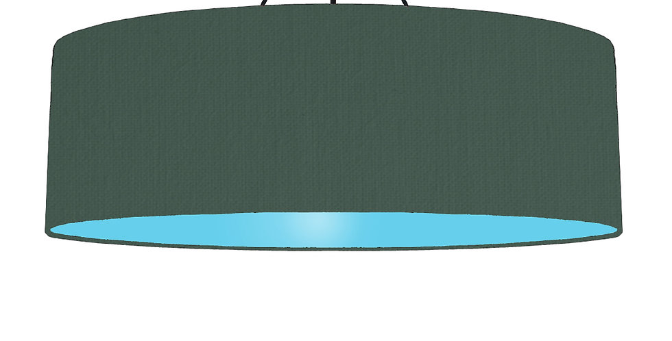Bottle Green & Light Blue Lampshade - 100cm Wide