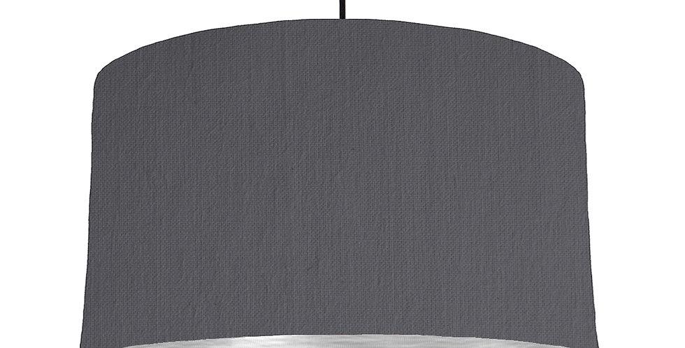 Dark Grey & Brushed Silver Lampshade - 50cm Wide