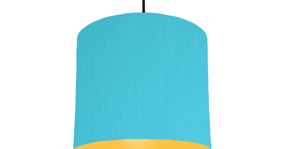 Turquoise & Butter Yellow Lampshade - 25cm Wide
