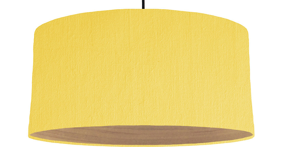 Lemon Yellow & Wooden Lined Lampshade - 60cm Wide