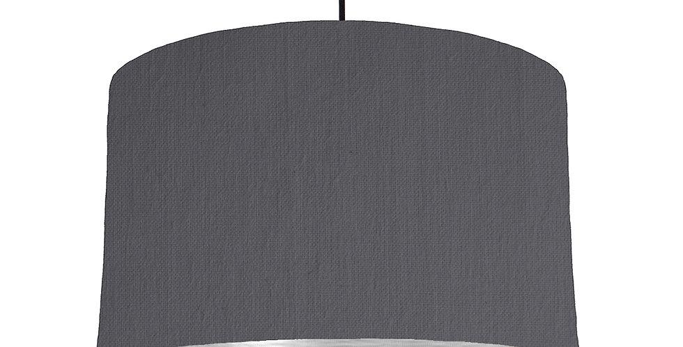 Dark Grey & Brushed Silver Lampshade - 40cm Wide