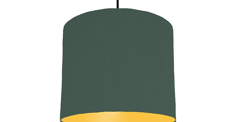 Bottle Green & Butter Yellow Lampshade - 25cm Wide