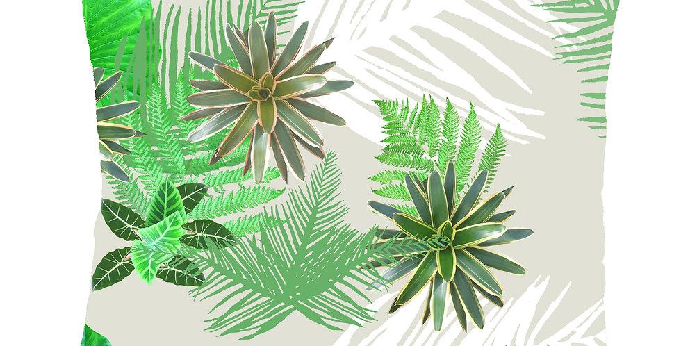 Digital Tropical Plant Cushion - Light Grey