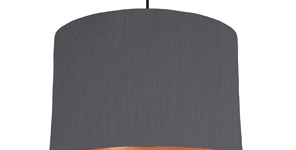 Dark Grey & Brushed Copper Lampshade - 30cm Wide