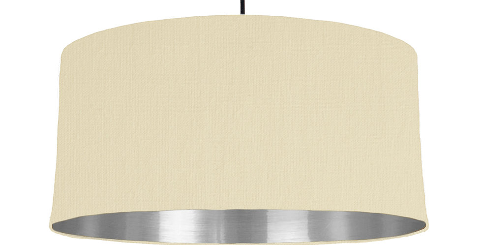 Natural & Silver Mirrored Lampshade - 60cm Wide