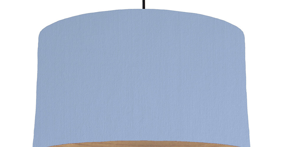 Sky Blue & Wooden Lined Lampshade - 50cm Wide