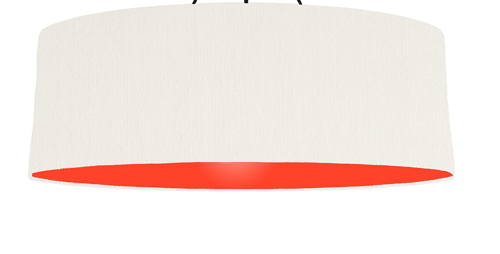 White & Poppy Red Lampshade - 100cm Wide