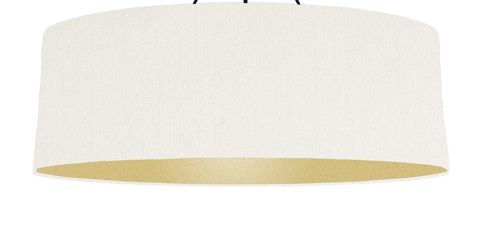 White & Gold Matt Lampshade - 100cm Wide