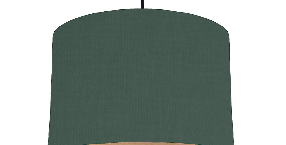 Bottle Green & Wood Lined Lampshade - 30cm Wide