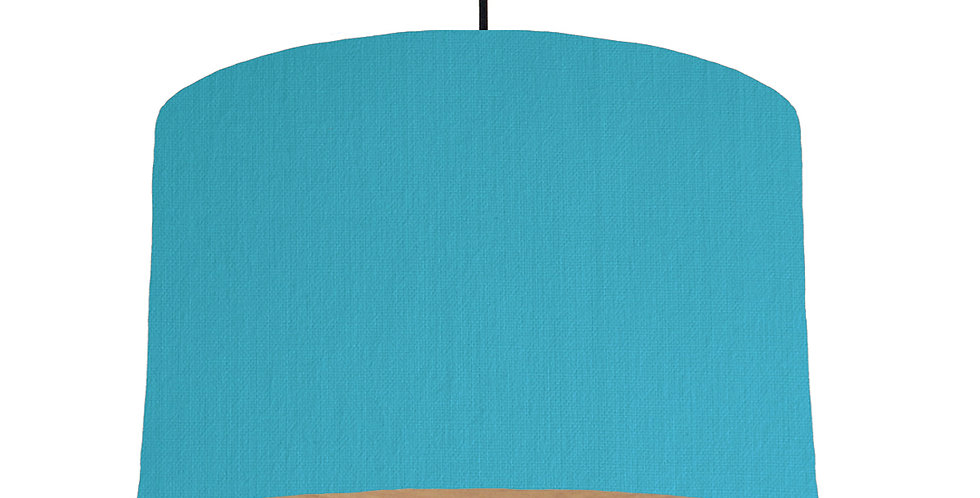 Turquoise & Wooden Lined Lampshade - 40cm Wide