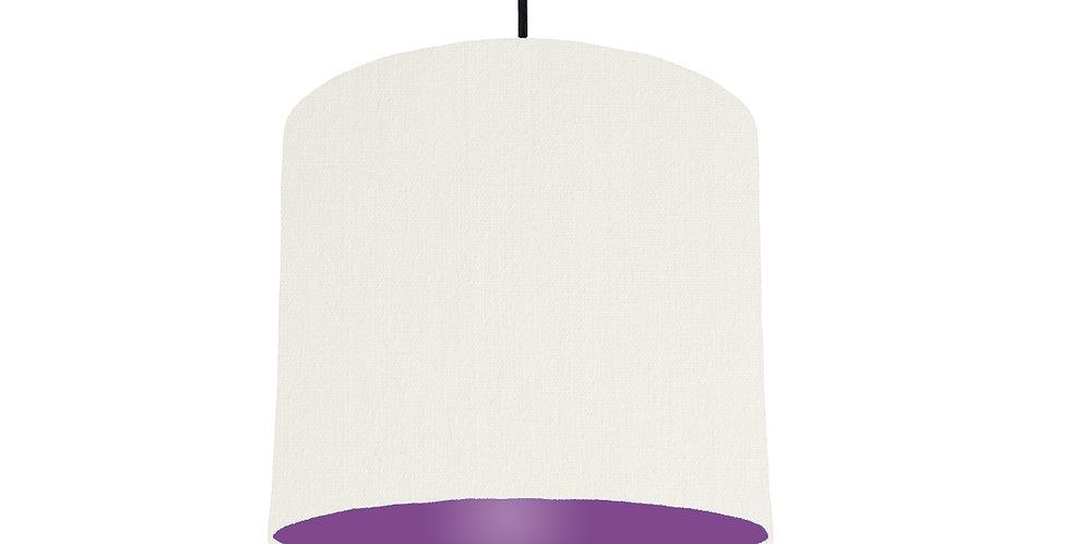 White & Purple Lampshade - 25cm Wide