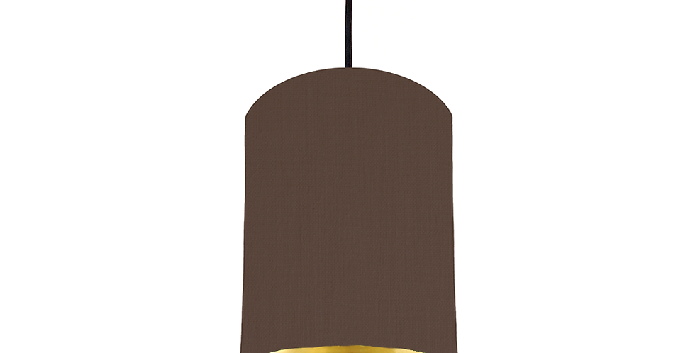 Brown & Gold Mirrored Lampshade - 15cm Wide