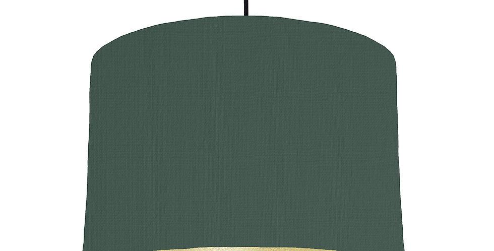 Bottle Green & Gold Matt Lampshade - 30cm Wide