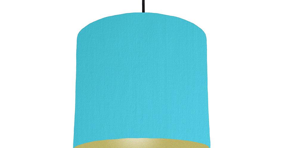 Turquoise & Gold Matt Lampshade - 25cm Wide