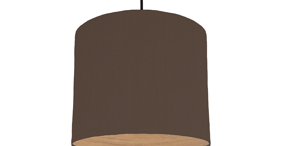 Brown & Wood Lined Lampshade - 25cm Wide