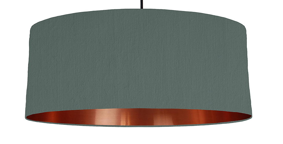 Bottle Green & Copper Mirrored Lampshade - 70cm Wide