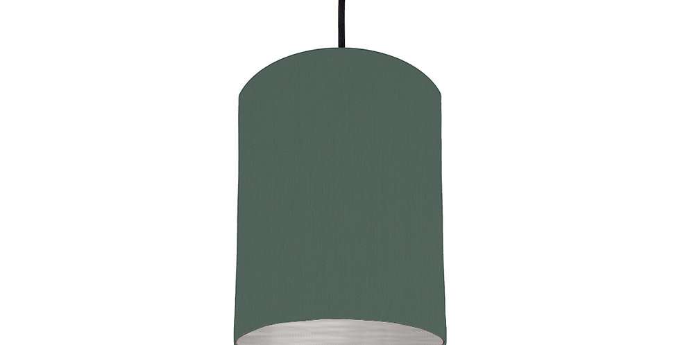 Bottle Green & Brushed Silver Lampshade - 15cm Wide