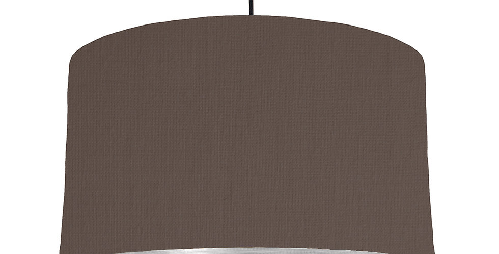 Brown & Brushed Silver Lampshade - 50cm Wide