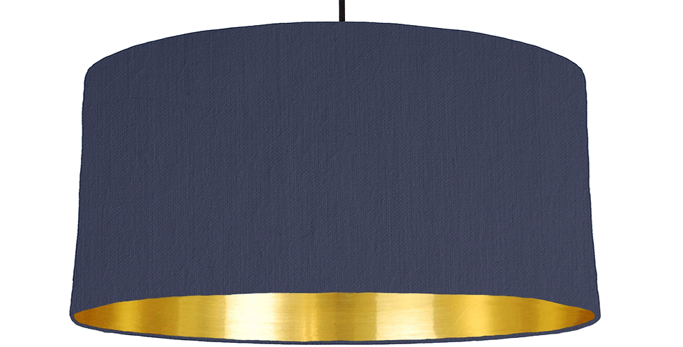 Navy & Gold Mirrored Lampshade - 60cm Wide
