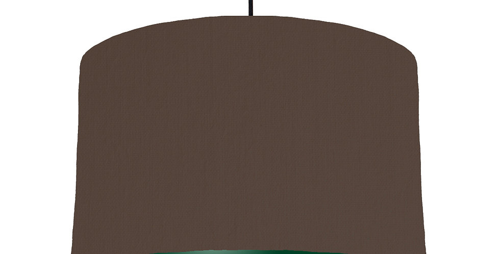 Brown & Forest Green Lampshade - 40cm Wide