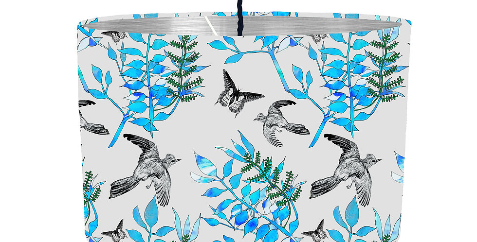 Botanical Bird Lampshade (Grey) - Metallic Lining