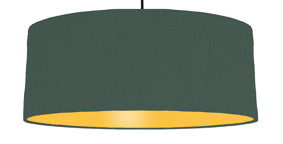 Bottle Green & Butter Yellow Lampshade - 70cm Wide