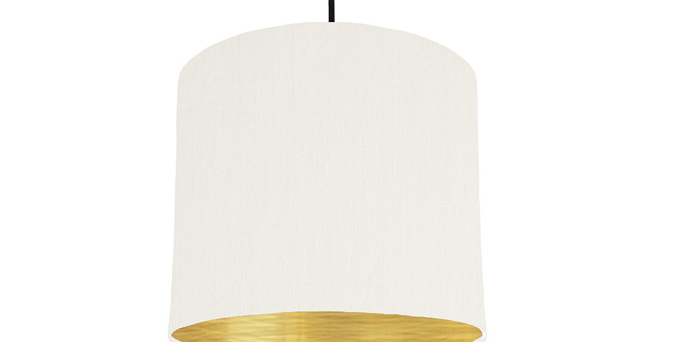White & Brushed Gold Lampshade - 25cm Wide