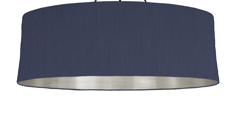 Navy & Brushed Silver Lampshade - 100cm Wide