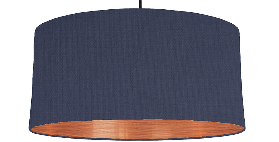 Navy & Brushed Copper Lampshade - 60cm Wide