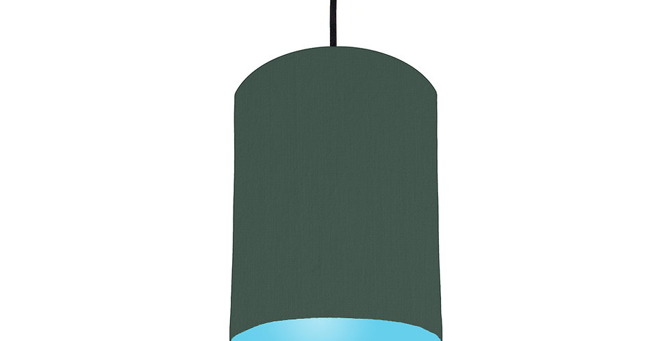 Bottle Green & Light Blue Lampshade - 15cm Wide