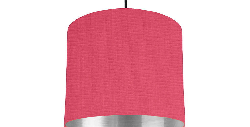 Cerise & Silver Mirrored Lampshade - 25cm Wide