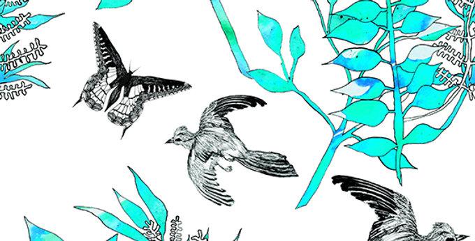 Botanical Bird Fabric -White & Blue