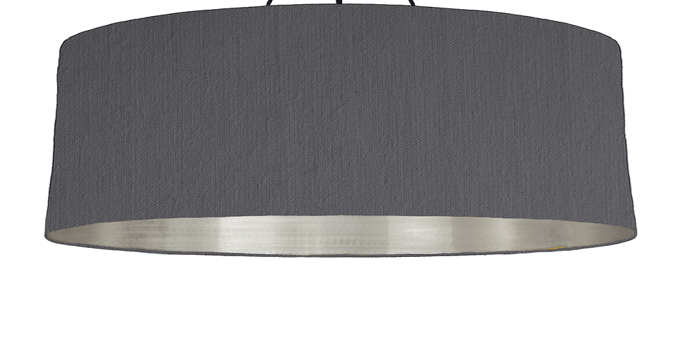 Dark Grey & Brushed Silver Lampshade - 100cm Wide