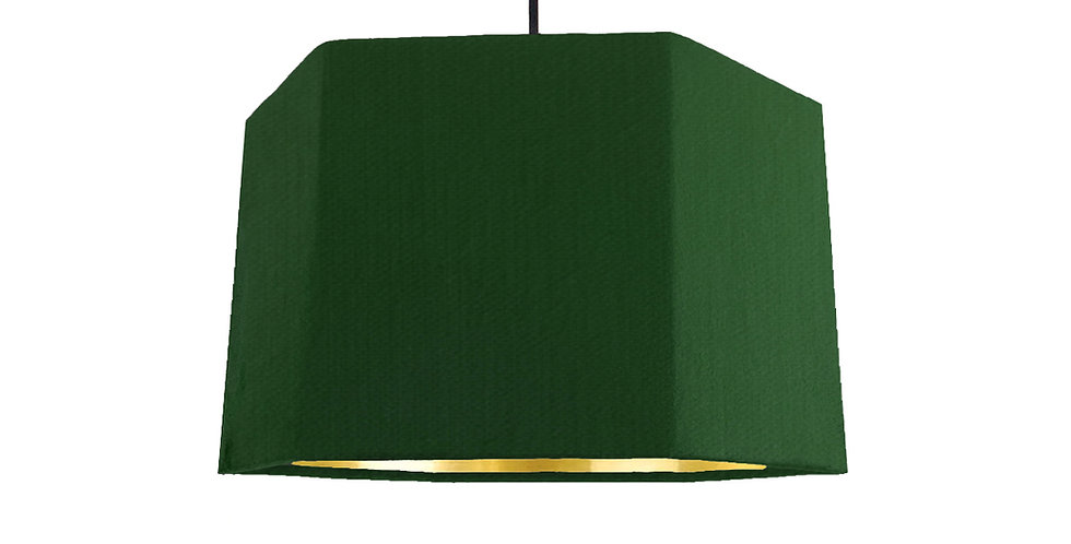 Bottle Green & Gold Mirror Hexagon Lampshade - 30cm Wide