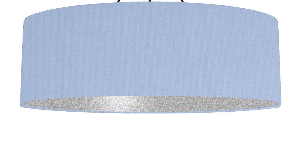 Sky Blue & Silver Matt Lampshade - 100cm Wide