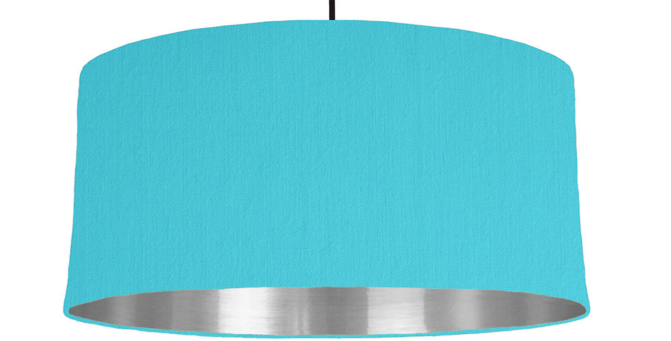 Turquoise & Silver Mirrored Lampshade - 60cm Wide