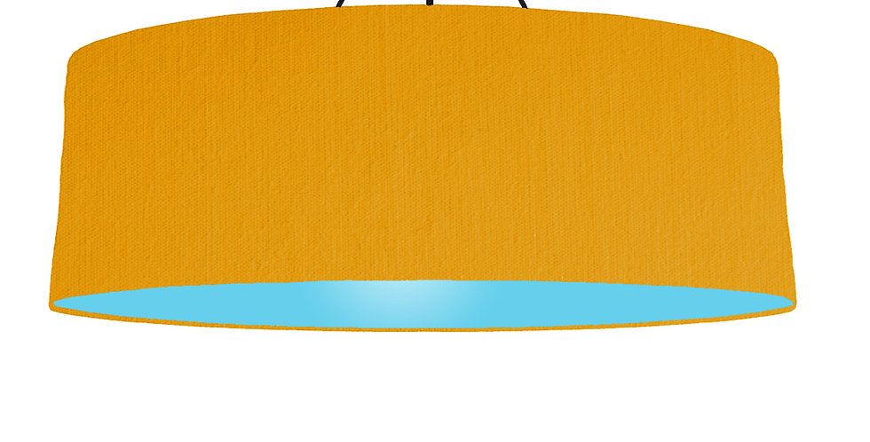 Mustard & Light Blue Lampshade - 100cm Wide