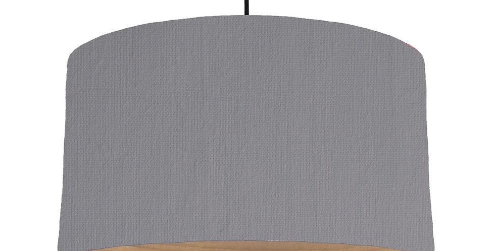Dark Grey & Wooden Lined Lampshade - 50cm Wide
