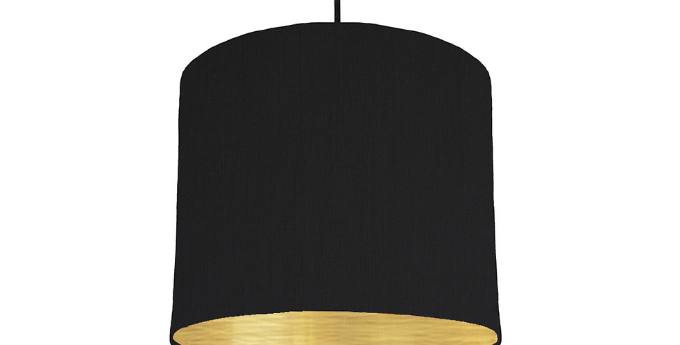 Black & Brushed Gold Lampshade - 25cm Wide