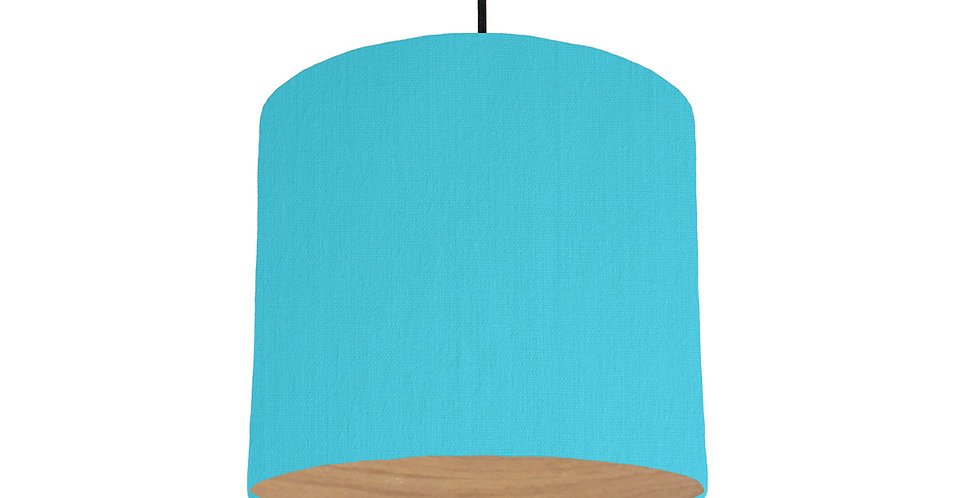 Turquoise & Wood Lined Lampshade - 25cm Wide