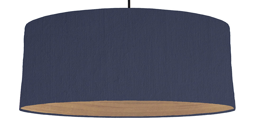 Navy & Wooden Lined Lampshade - 70cm Wide