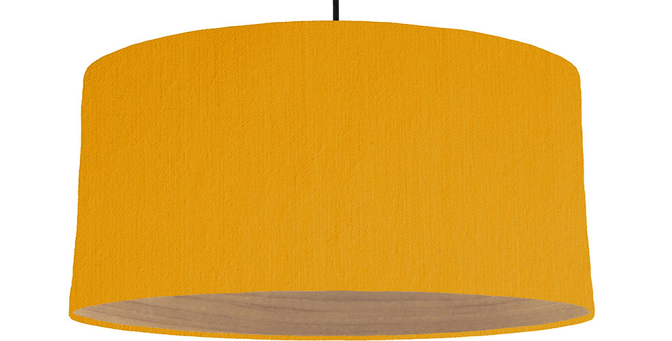 Mustard & Wooden Lined Lampshade - 60cm Wide