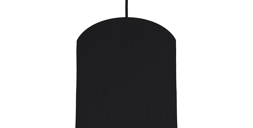 Black & Brushed Silver Lampshade - 20cm Wide
