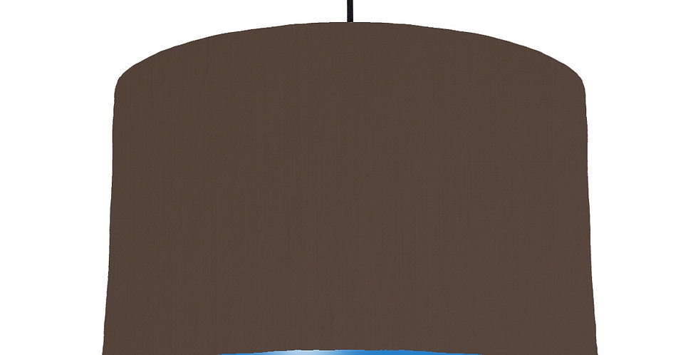 Brown & Bright Blue Lampshade - 40cm Wide
