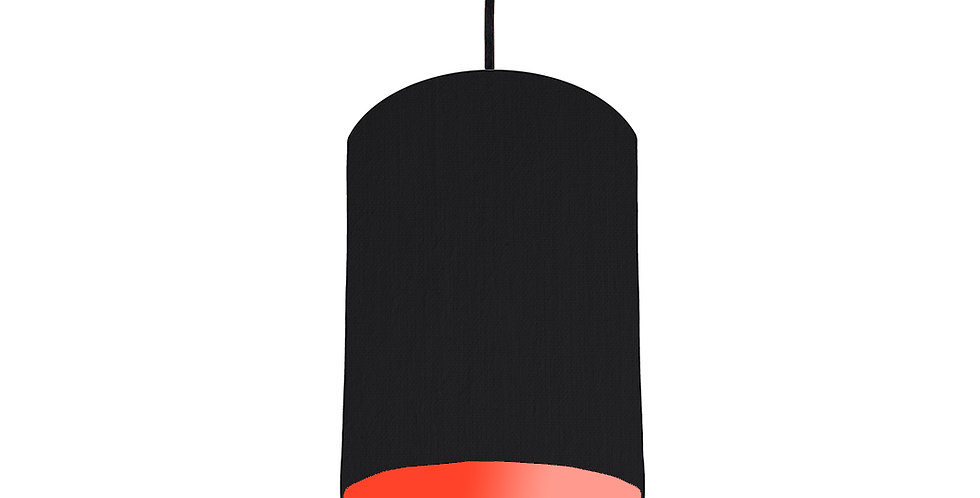 Black & Poppy Red Lampshade - 15cm Wide