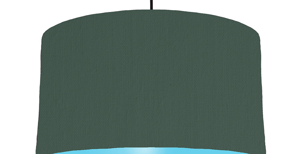 Bottle Green & Light Blue Lampshade - 50cm Wide