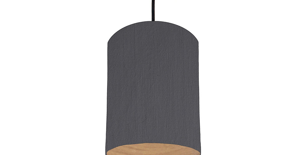 Dark Grey & Wood Lined Lampshade - 15cm Wide