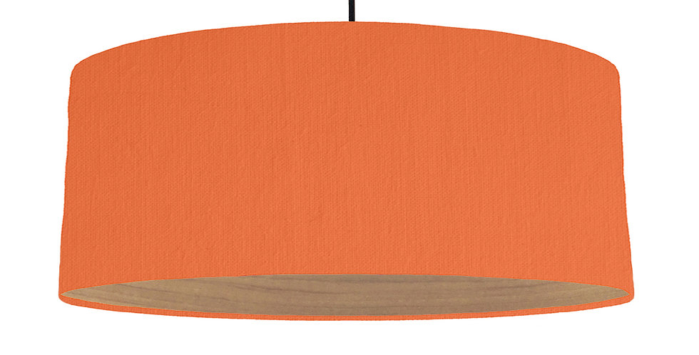 Orange & Wooden Lined Lampshade - 70cm Wide